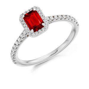 Emerald cut ruby  round diamonds 2.30 carats Weddi